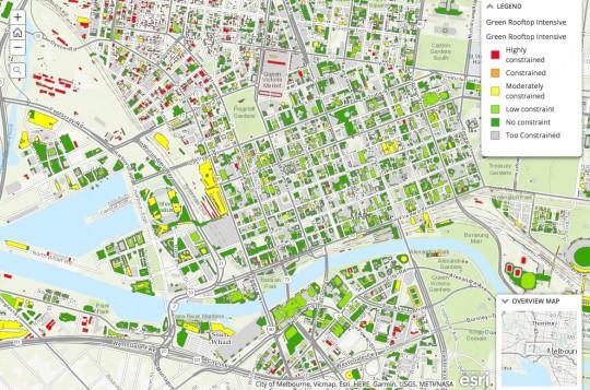 Mapa zelenih krovova u Melburnu